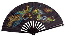 Bambus Fächer schwarz  Motiv: Drache und Pfau. Kung Fu, Wu Shu, Tai Chi, Karate