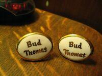 Bud Thoma$ 1960's Cuff Links - Vintage Bud Thomas Gold Porcelain Oval Cufflinks