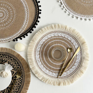 Set of 4 Round Placemats Woven Washable Table Mats Heat Resistant Circle 38CM