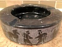 Vintage Egyptian Ashtray Marble Stone Cigarette Chariot Horse Etched Black Grey