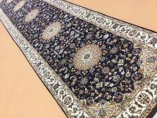 "2'.7"" X 11'.11"" Navy Blue Nain Persian Oriental Wool & Silk Rug Runner Handmade"
