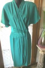 VINTAGE 80'S  does 50'S ~ ANTHEA CRAWFORD ~ Green Wrap DRESS * Size 10 * REDUCED