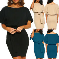 Women Short Sleeve Casual Pocket Midi Dress Short Sleeve Bodycon Evening Party