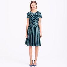 J.Crew Collection Blue/Green Chevron-Stripe Silk Dress Size 2 Retail Price $495