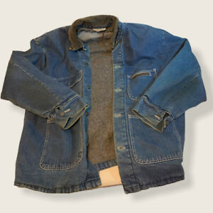 Bob Barker Denim Jacket Mens XL 46/48 Dark Blue Chore Fleece Lined Barn Work