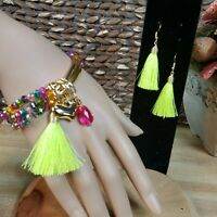 Handcrafted Mexican Brazalet & Earrings tassel/ Brazalete y aretes artesanal