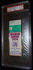 1974 WORLD SERIES GAME 3 TICKET OAKLAND A'S JIM CATFISH HUNTER WS WIN PSA