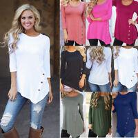 UK Women Loose Long Sleeve Irregular Ladies Casual Tops T-Shirt Blouse Plus Size