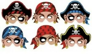 6 Card Pirate Masks Birthday Party