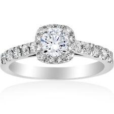 Подушки 1 кар Halo круглый солитер бриллиант обручальное кольцо 14K белое золото