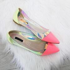Ladies Flat Ballerina Pump Slip On Holographic Contrast Neon Green Pink Size 5