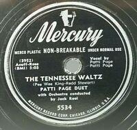 Patti Page The Tennessee Waltz Boogie Woogie Santa Claus 78rpm Mercury 5534