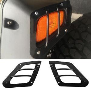 2PCS Black Side Marker Light Guards Covers Trim For Jeep Wrangler TJ 1997-2006