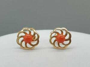 Vintage 9k 9ct yellow gold red coral flower ornate stud earrings natural stones
