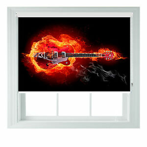 Guitar on Fire Music Themed Printed Photo Black Out Roller Blinds 2 3 4 5ft