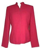 Coldwater Creek Jacket Blazer Zip Front Solid Pink Lightweight Size 4