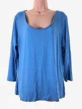 ARTIGIANO blue scoop neck 3/4 sleeve t-shirt blouse top PLUS SIZE 18 euro 46