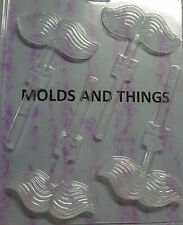 MUSTACHE LOLLY CHOCOLATE CANDY MOLD - 3 MOLDS SET