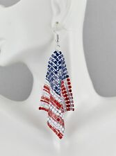 Patriotic earrings Red White Blue USA American Flag earrings 4th July metal mesh