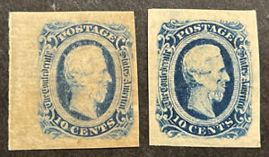 TDStamps: US Confederate States CSA Stamps Scott#12 Mint LH OG 2 Shades