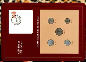 Coin Sets of All Nations Pakistan 1 Rupee 25,10,5 Paisa 1991 50 Paisa 1988