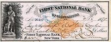 4 Different attractive old checks - Cooperstown, NY - First National Bank