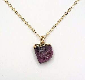 Raw Ruby Gold Filled Pendant Natural Stone Jewellery Womens Birthday Gift Boxed
