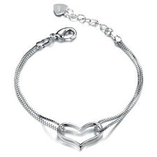 Silver Plated Love Heart with Double Chain Links Bracelet Bangle Wedding Jewelry