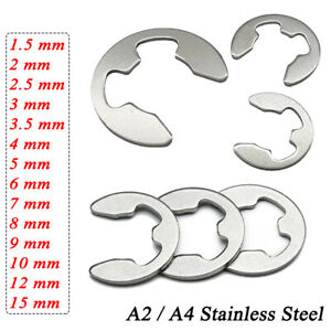 1.5-15mm External E Circlips DIN6799 Retaining Washer for Shafts A2/A4 Stainless