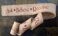 Primitive Christmas Burlap Ribbon Banner Ask Believe Receive Ornament Garland 6'