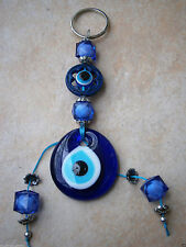 GREEK EVIL EYE LARGE ROYAL BLUE KEY CHAIN LUCKY FRIDGE CHARM CAR GREECE JUDAICA