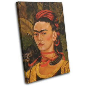 Frida Kahlo Self Portrait Vintage SINGLE CANVAS WALL ART Picture Print