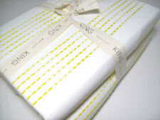 West Elm Cotton Greenish Yellow Dot Dotted Stripe King Duvet Cover New