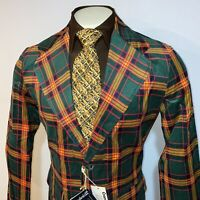 NOS Vtg 60s 70s CORDUROY Blazer Green Plaid SUIT JACKET Smoking Coat NEW Mens 40
