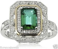 Solid 925 Silver Emerald & CZ Stone Studded Art Deco Bridal Women's Ring 1.80 Ct