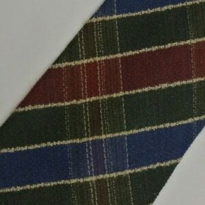 Green Blue Red Plaid Wool Tie