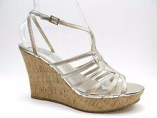Fergie Kappa Gold Leather Platform Strappy Sandal Pumps 8.5M 8.5 NEW MSRP $89