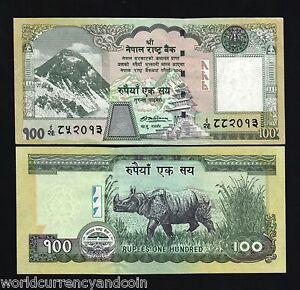 NEPAL 100 RUPEES P-64 2008 Error > MISMATCH 2 DIFF SERIAL # < RHINO EVEREST NOTE