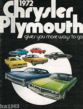1972 CHRYSLER PLYMOUTH CATALOG: plumero,Barracuda,CORRECAMINOS,Imperial,FURIA ,