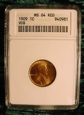 1909 Lincoln Cent VDB  ANACS MS-64 Mint State 1st Year Lincoln