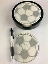 "Soccer Ball Theme Notepad w/Holder ""I get a kick out of soccer!"""