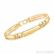 14K Yellow+White Gold Shiny Men's Fancy Bracelet+Nail Head with Lobster Clasp