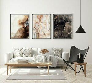 Set of 3 Prints A3 Black Frames Included Abstract Marble Brown Gold Framed Art