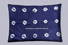 Indigo Blue Shibori Print Cotton Kantha Quilted Cushion Cover Pillow sham Case