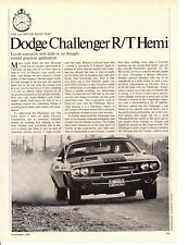 1970 DODGE CHALLENGER R/T HEMI ~ ORIGINAL 7-PAGE ROAD TEST / ARTICLE / AD