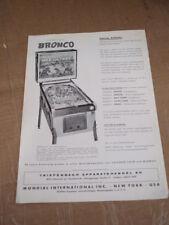 Amusement Arcade Magazine AD PUB pas Flyer CHICAGO Coin's Bronco Flipper