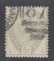 "Great Britain SG #193  5d dull green  ""Coloured Letter Corners""  F *"