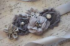 Flower Sash, grey sash,#3 , flower Belt, maternity sash, wedding sash