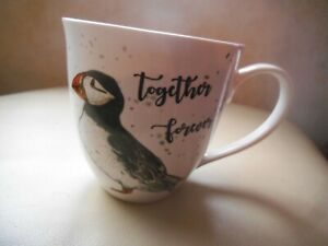 MILLY GREEN ~ PUFFIN ~ LARGE MUG Birds of a Feather Together Forever  VGC