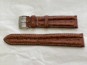 USED OMEGA 18MM BROWN LEATHER STRAP BAND STEEL BUCKLE 100% GENUINE
